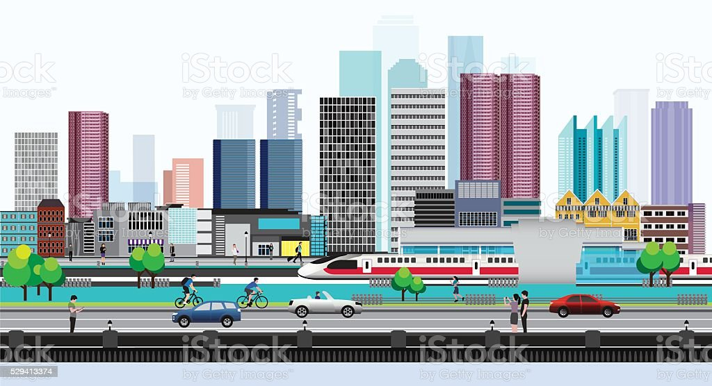 Life style in Metropolis vector art illustration