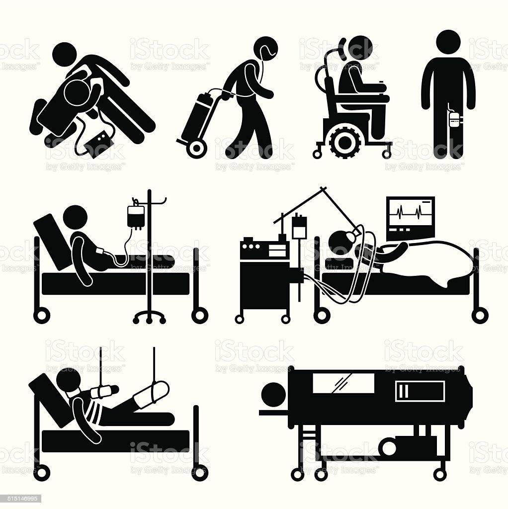Life Support Equipments Stick Figure Pictogram Icons vector art illustration