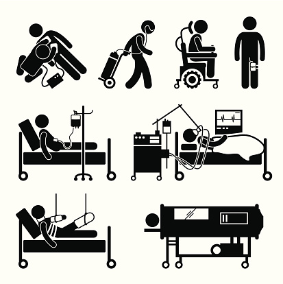 Life Support Equipments Stick Figure Pictogram Icons Stock