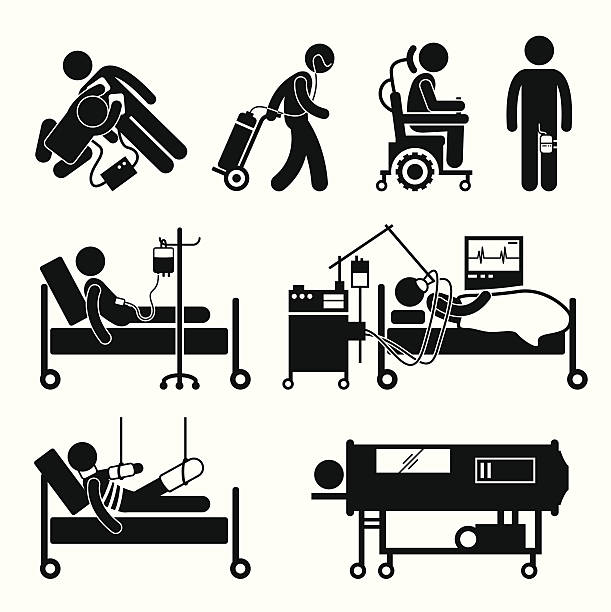 stockillustraties, clipart, cartoons en iconen met life support equipments stick figure pictogram icons - ventilator bed