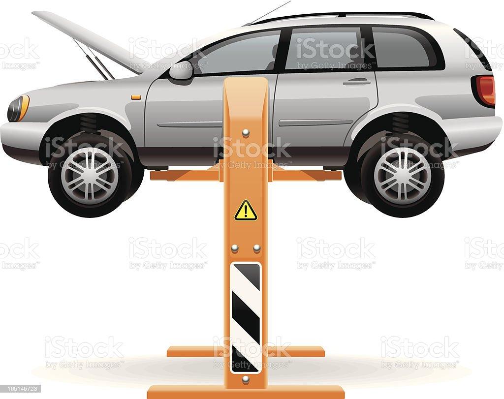 Life used for lifting car in repair vector art illustration