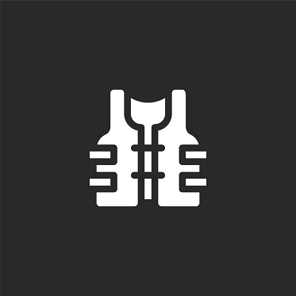 life vest icon. Filled life vest icon for website design and mobile, app development. life vest icon from filled fishing collection isolated on black background.
