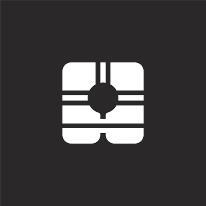 life vest icon. Filled life vest icon for website design and mobile, app development. life vest icon from filled emergencies collection isolated on black background.