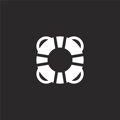 life vest icon. Filled life vest icon for website design and mobile, app development. life vest icon from filled travel collection isolated on black background.