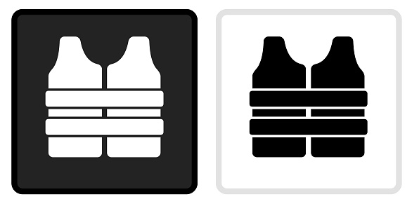 Life Vest Icon on  Black Button with White Rollover
