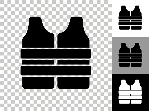 Life Vest Icon on Checkerboard Transparent Background
