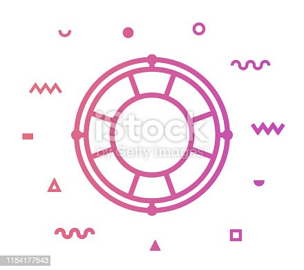 Lifebelt outline style icon design with decorations and gradient color. Line vector icon illustration for modern infographics, mobile and web designs.