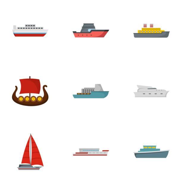 rettungsboot icons set, flachen stil - funktionssofa stock-grafiken, -clipart, -cartoons und -symbole