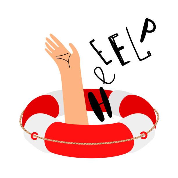 ilustrações de stock, clip art, desenhos animados e ícones de lifebuoy and hand to call for help - swim arms