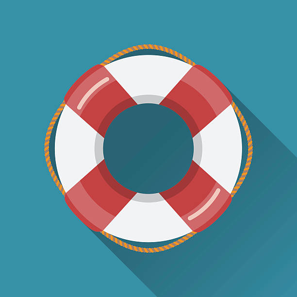 Lifebuoy flat icon Lifebuoy flat icon. Flat style vector illustration floating on water stock illustrations