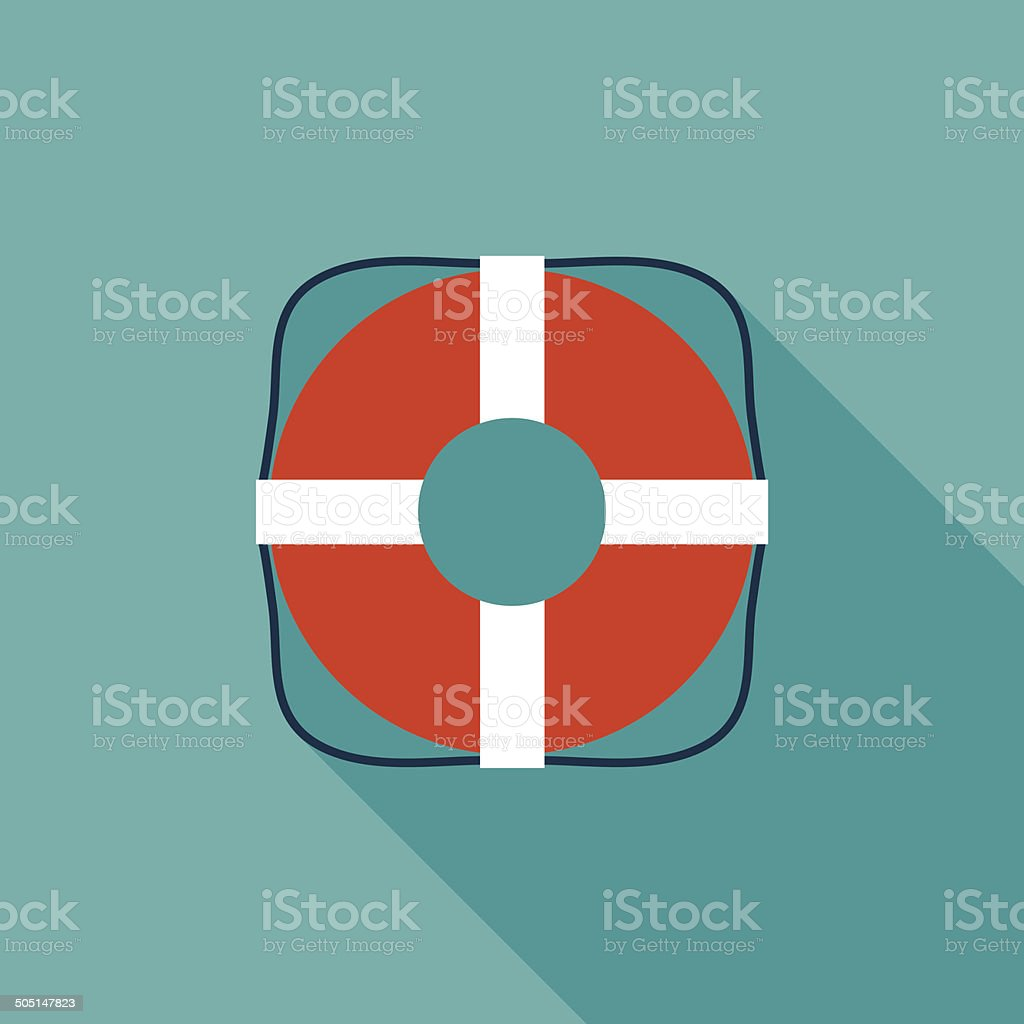 Lifebuoy flat icon with long shadow vector art illustration