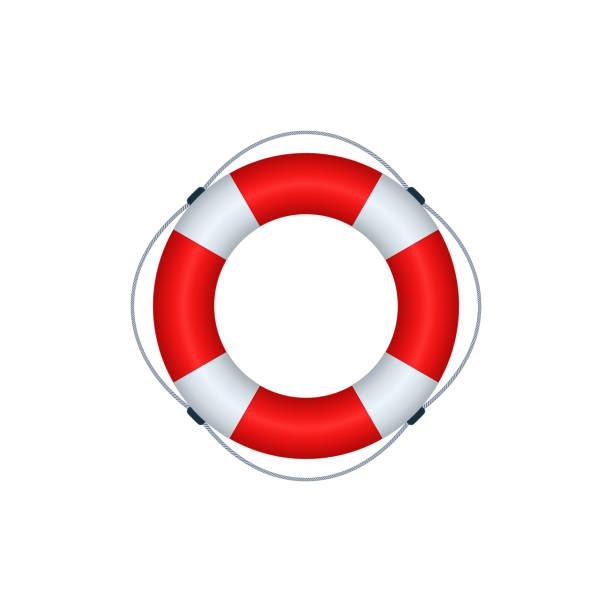 Lifebuoy icon design Lifebuoy icon on white background. Vector icon design. lifeguard stock illustrations