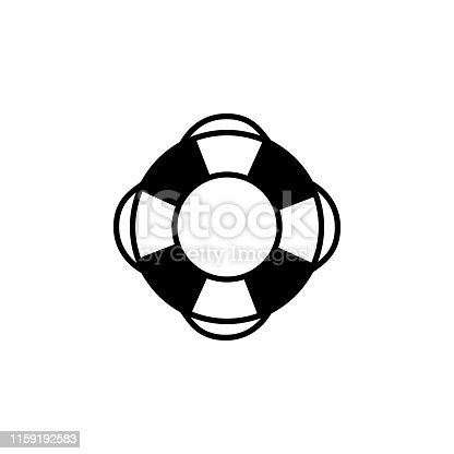 istock Lifebuoy Icon In Flat Style Vector For App, UI, Websites. Black Icon Vector Illustration 1159192583