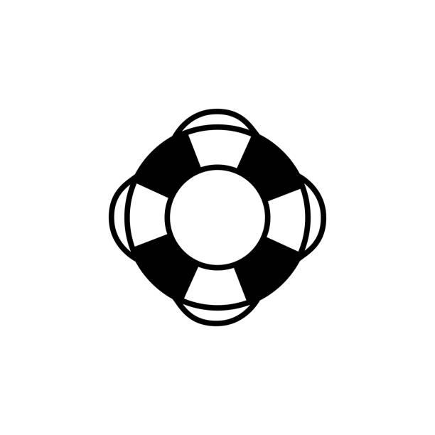 app, ui, web siteleri için düz stil vektör lifebuoy simgesi. siyah simge vektör illüstrasyon - first responders stock illustrations