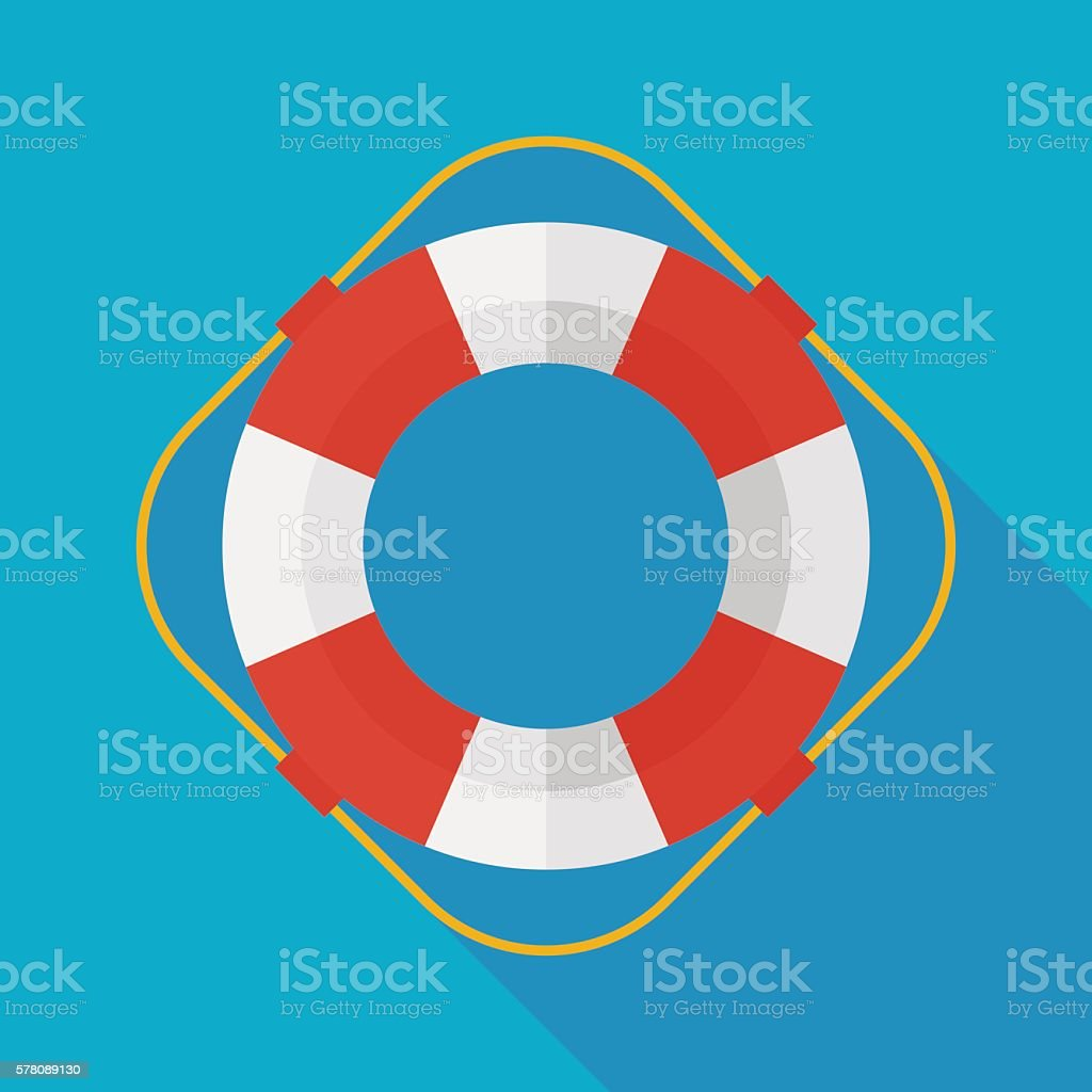 lifebuoy icon with long shadow. flat style vector illustration vector art illustration
