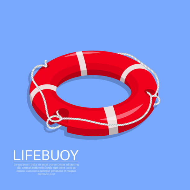 Lifebuoy on the isolated background Lifebuoy on the isolated background. A subject for the help on water, rescue of drowning. Sea stock. An element for design.3D. Isometry. A vector illustration in flat style. lifeguard stock illustrations