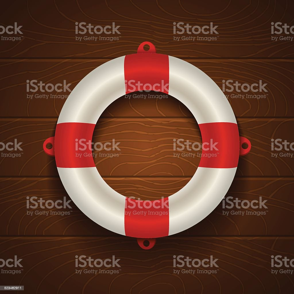 lifebuoy on wooden background vector art illustration
