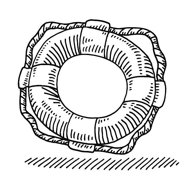 Lifebuoy Rescue Drawing Hand-drawn vector drawing of a Lifebuoy, Rescue Symbol. Black-and-White sketch on a transparent background (.eps-file). Included files are EPS (v10) and Hi-Res JPG. transportation stock illustrations