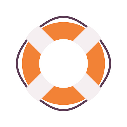 Lifebuoy ring in orange and white color