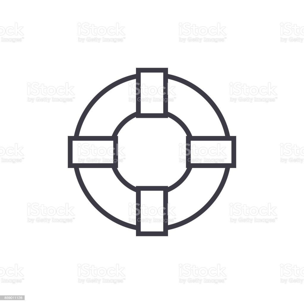 lifebuoy sign vector line icon, sign, illustration on background, editable strokes vector art illustration