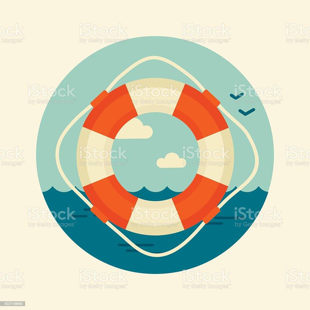 Lifebuoy vector icon. Marine, Sea vector art illustration