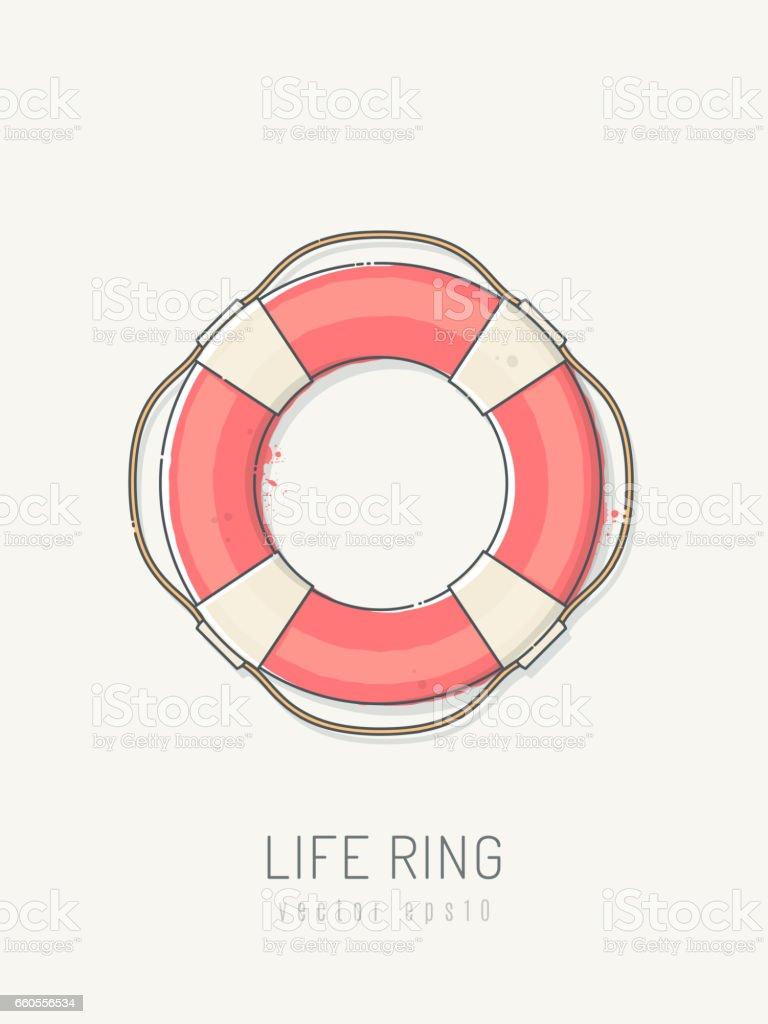 Lifebuoy vector art illustration