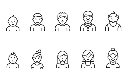 Lifecycle from birth to old age, linear icon set. People of different ages, male and female. Childhood to old age. Editable stroke