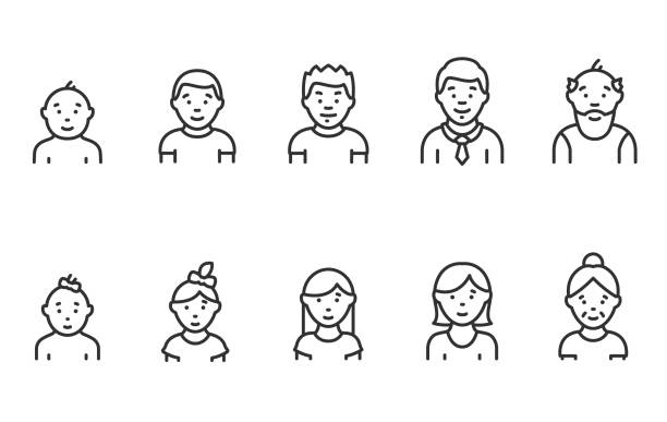 lifecycle from birth to old age, linear icon set. people of different ages, male and female. childhood to old age. editable stroke - chłopcy stock illustrations
