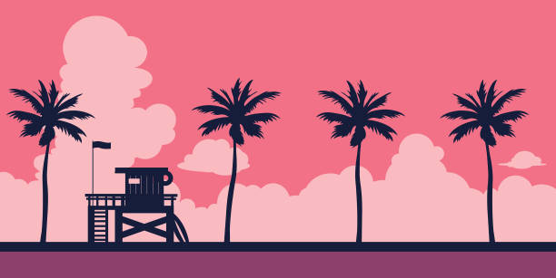 Lifeguard and beach 001 - 1 Lifeguard station on a beach with palm on a sunset sky. Vector illustration with tropical landscape. Summer card. southern usa illustrations stock illustrations