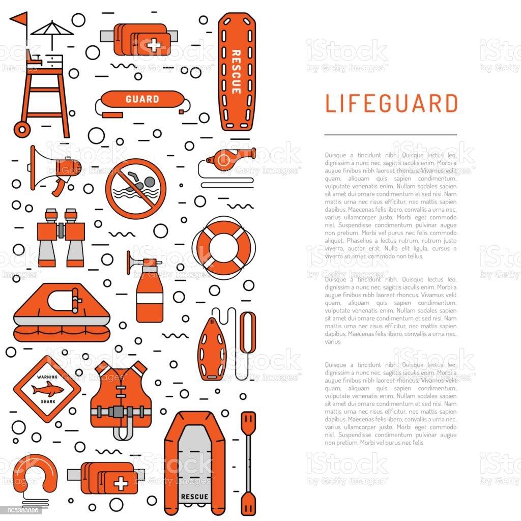 Lifeguard flat outline icon vector art illustration