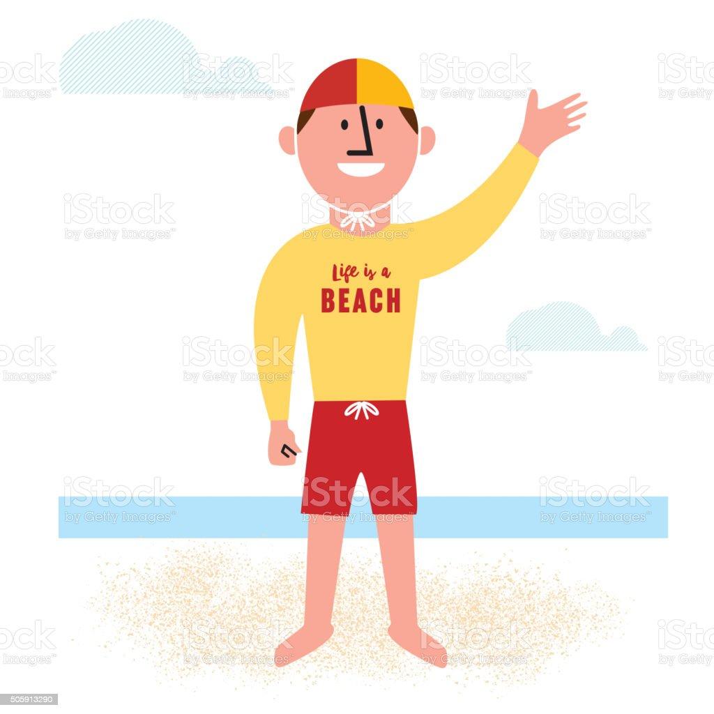 Lifeguard on the beach vector art illustration
