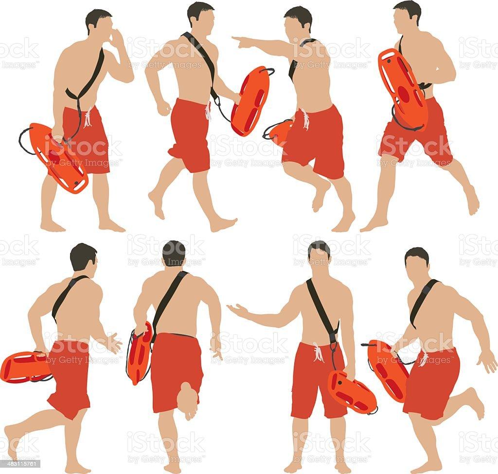 Lifeguard running royalty-free stock vector art