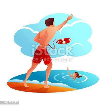 Lifeguard saves woman flat vector illustration. Beach rescuer and drowning lady cartoon characters. Professional lifesaver throwing lifebuoy from sea shore. Brave hero helping swimmer in danger