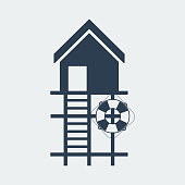 Lifeguard stations icon.Beach lifeguard house logo or label template.Vector Illustration