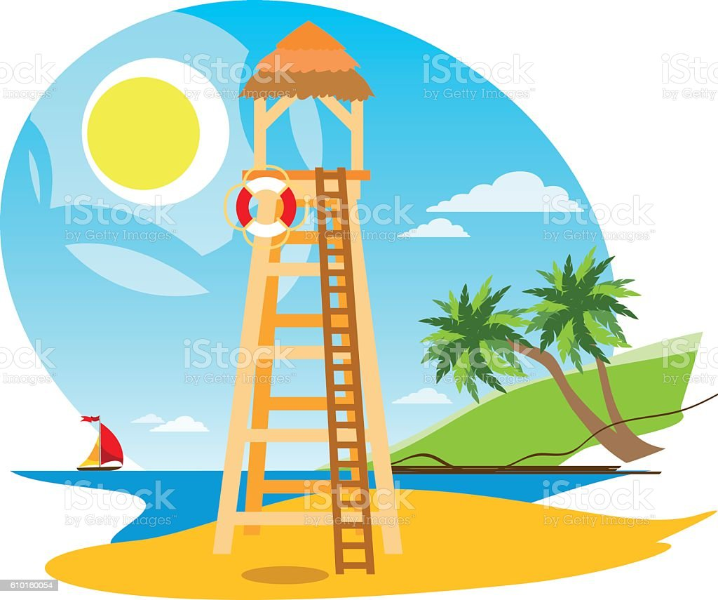 lifeguard tower on the beach stock vector art more images of rh istockphoto com beach vector graphics beach vector art free