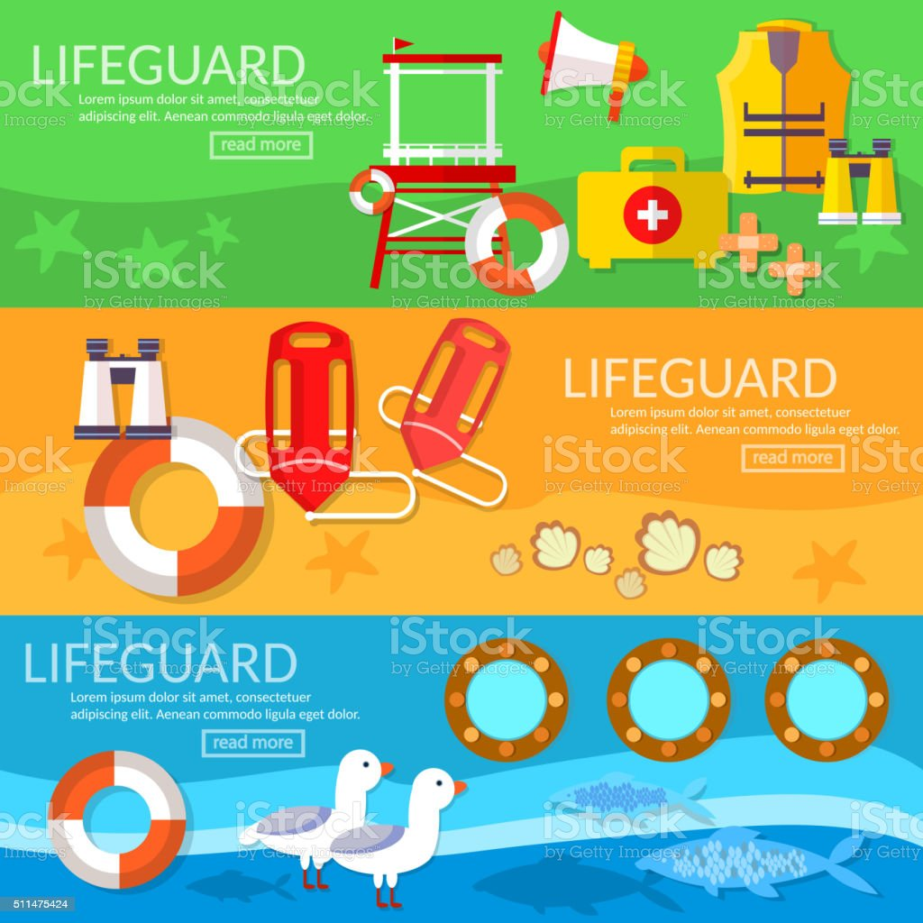 Lifeguards banners professional lifeguard on the beach vector art illustration