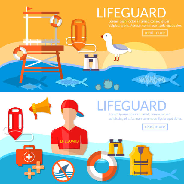 Lifeguards banners work of a professional lifeguard on the beach vector art illustration