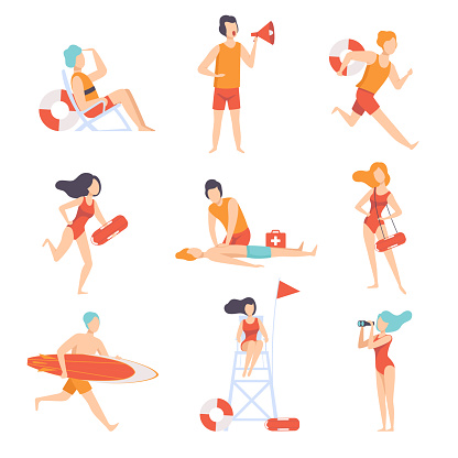Lifeguards on duty set, male and female professional rescuer character working on the beach vector Illustration on a white background