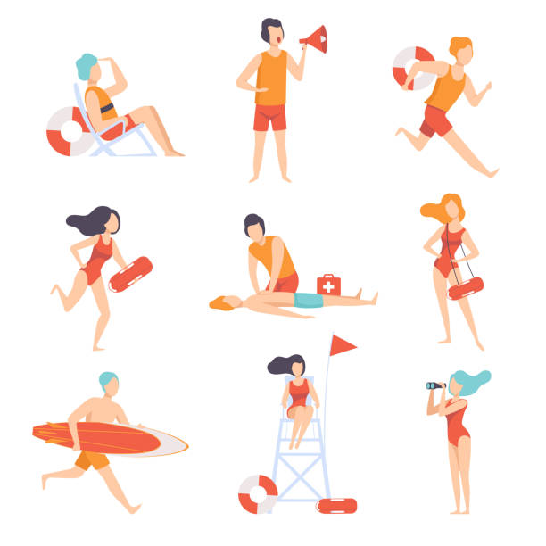 Lifeguards on duty set, male and female professional rescuer character working on the beach vector Illustration on a white background Lifeguards on duty set, male and female professional rescuer character working on the beach vector Illustration isolated on a white background. lifeguard stock illustrations
