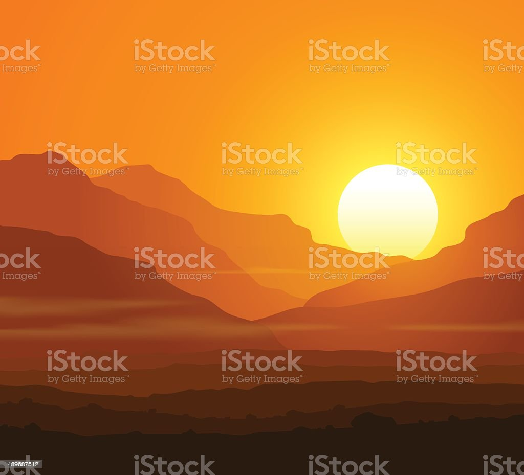 Lifeless landscape with huge mountains at sunset vector art illustration