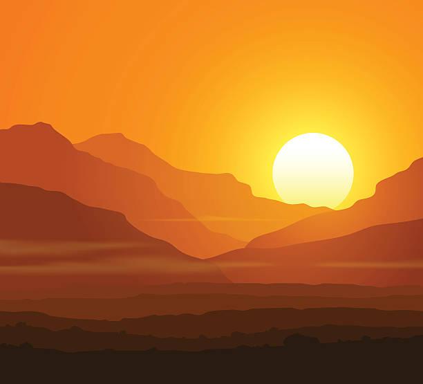 Cible avec immense paysage de montagne au coucher du soleil - Illustration vectorielle