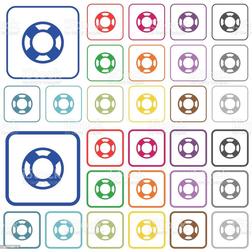 Couleur de la bouée de sauvetage décrite icônes plats couleur de la bouée de sauvetage décrite icônes plats – cliparts vectoriels et plus d'images de appliquer libre de droits