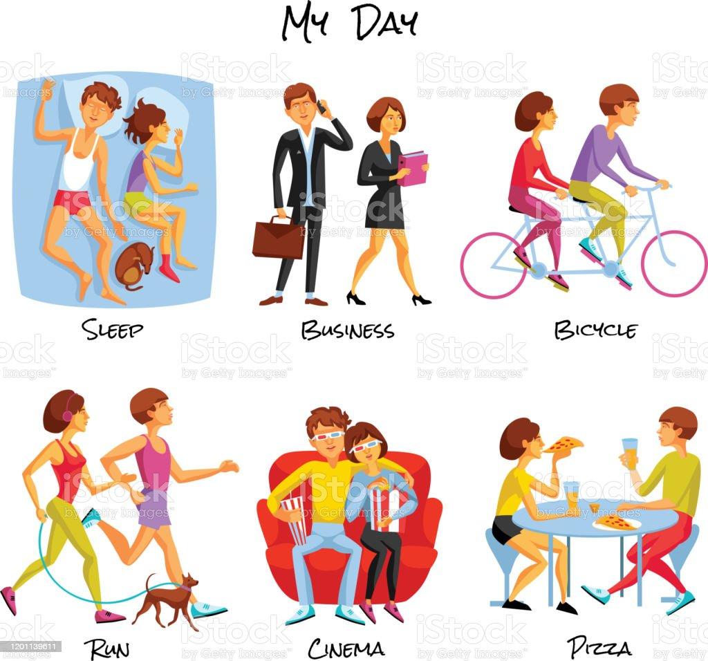 Lifestyle Icons Set. Lifestyle Vector Illustration. Daily Routine...