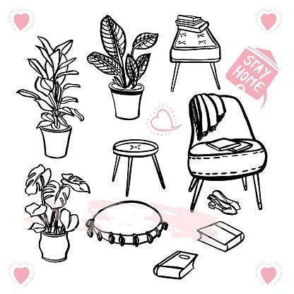 Lifestyle hygge comic style furniture illustration set. Black line art doodle style design.