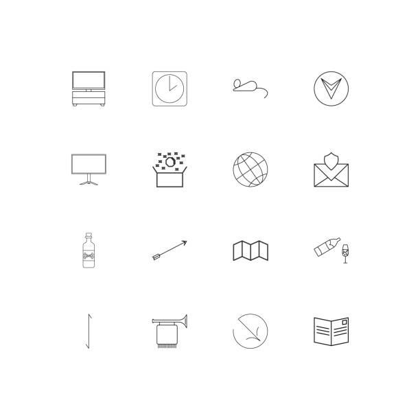 lebensstil lineare dünne symbole festgelegt. beschriebenen einfachen vektor-icons - fanfare stock-grafiken, -clipart, -cartoons und -symbole