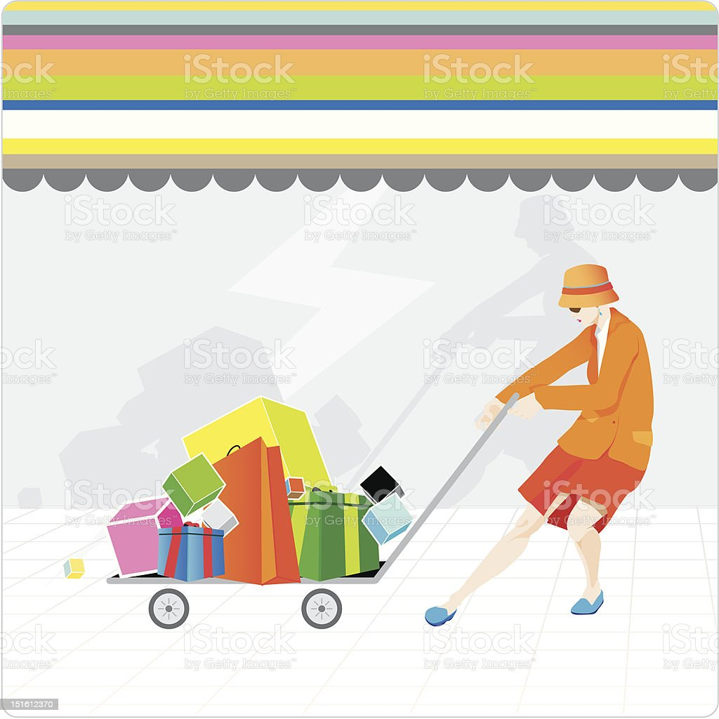 lifestyle portrait: shopping woman royalty-free lifestyle portrait shopping woman stock vector art & more images of adult
