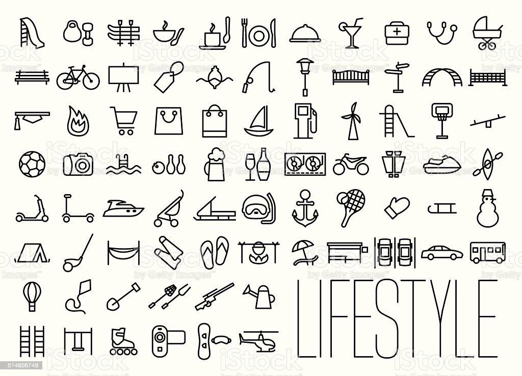 Lifestyle & Recreation Line Icons vector art illustration