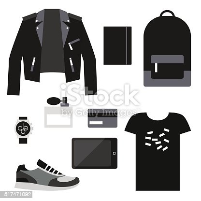 Unisex casual outfit. Flat vector objects