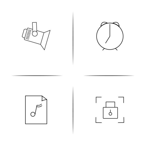 Lifestyle simple linear icons set. Outlined vector icons vector art illustration