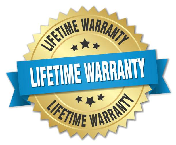 lifetime warranty 3d gold badge with blue ribbon lifetime warranty 3d gold badge with blue ribbon insurance stock illustrations